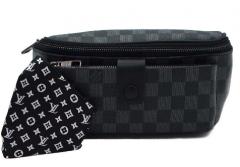 Стильная сумка-бананка мужская. с накладным карманом на клапане, поясная MD, чёрный 381-1-А