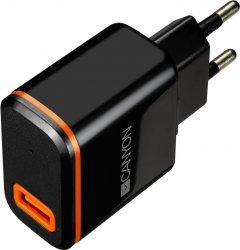 Сетевое зарядное устройство Canyon USB + встроенный кабель USB Type C 2.1А Black (CNE-CHA042BO)