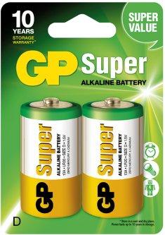 Батарейки GP SUPER ALKALINE 1.5V 13A-U2, LR20, D 2 шт (4891199000003)
