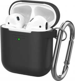 Классический Силиконовый чехол AhaStyle с карабином для Apple AirPods Black (AHA-01060-BLK)