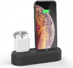 Силиконовая подставка AhaStyle 2 в 1 для Apple AirPods и iPhone Black (AHA-01550-BLK)