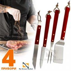 Набор инструментов для барбекю BBQ PCS set 4 предмета для гриля мангала с нержавеющей стали и деревянными ручками с петельками для подвешивания
