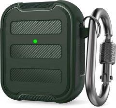 Противоударный чехол с карабином AhaStyle для Apple AirPods Тёмно-зелёный (AHA-01115-MDG)