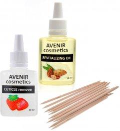Набор по уходу за кутикулой Avenir Cosmetics Масло для кутикулы+ Ремувер для кутикулы+ Апельсиновые палочки (4820440814359)