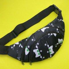 Стильная сумка на пояс женская ( бананка для девочки с котиками ) black
