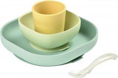 Набор: тарелка, миска, стакан и ложка Beaba Неон/Желтый (913436)