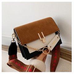 Женская сумка через плечо Homemari с клапаном 19X14.5X7.5CM Черный + Бежевый + Белый (sv0226)