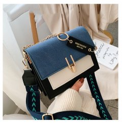 Женская сумка через плечо Homemari с клапаном 19X14.5X7.5CM Черный + Синий+ Белый (sv0226)