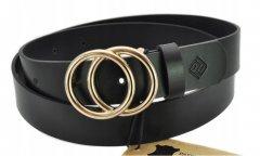 Женский кожаный ремень Promesso чёрный с золотистой пряжкой кольца 105 см