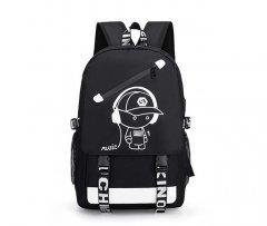 Рюкзак с USB и рисунком светящийся в темноте, 30 литров, чёрный, городской, школьный (MUSIC-30L-BL)