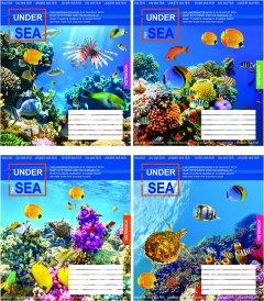Набор тетрадей ученических Мрії збуваються На дне океана В5 линия 12 листов на скобе уплотненная картонная обложка 4 дизайна 20 шт (ТА5.1221.2545л)