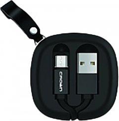Кабель для зарядки и передачи данных Crown USB - microUSB 0.9 м Black (CMCU-013M)