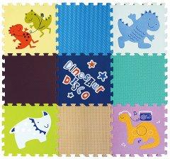 Детский развивающий игровой коврик-пазл Baby Great Диско динозавры 92х92 см (GB-M1606)