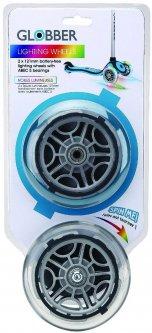 Запчасть к самокатам Globber серии Primo/Elite/Evo/Flow Набор колес 121 мм светящихся блистер (526-009)