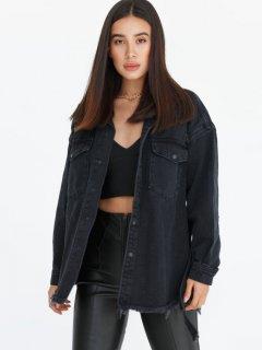 Джинсовая куртка Gepur 36519 L (48) Черная (5000018785413)