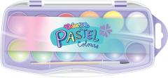 """Краски акварельные Colorino """"Пастель"""" 12 цветов в пластиковой упаковке с кисточкой (85443PTR)"""