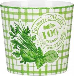 Кашпо для цветов Scheurich Herbs Farmers Белый с салатовым 11.8 х 13.7 см (4002477604558)