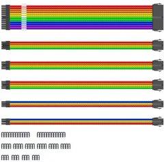 Комплект удлинительного кабеля для блока питания 1STPLAYER MOD Cable Rainbow (RB-001)