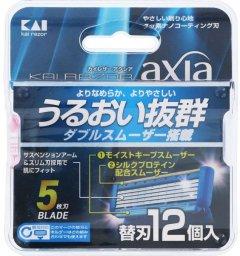 Запасные лезвия для мужского станка для бритья Kai Axia с 5ю лезвиями 12 шт (4901331002656)