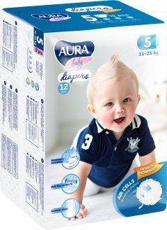 Подгузники одноразовые для детей AURA baby 5 11-25 кг 12 шт (4752171003262)