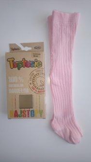 Колготи дитячі ребро із 100% натуральної бавовни Tuptusie SYNTEX р.56-62 (рожеві)