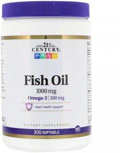 Жирные кислоты 21st Century Рыбий жир Омега-3 1000 мг 300 мягких таблеток (740985229217)