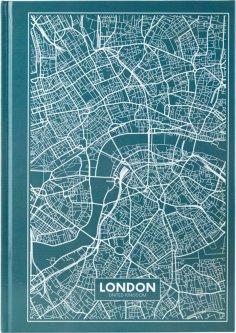 Записная канцелярская книга Axent Maps London А4 в твердой обложке 96 листов в клетку Бирюзовая (8422-516-A)