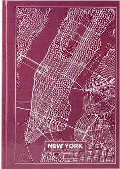 Записная канцелярская книга Axent Maps New York А4 в твердой обложке 96 листов в клетку Розово-коричневая (8422-543-A)