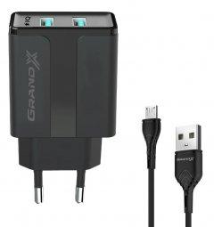 Зарядное устройство Grand-X CH-15UMB 2 USB 5 В 2.4 А с защитой от перегрузки + microUSB 1 м Black (CH-15UMB)