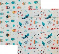 Детский двусторонний развивающий складной термоковрик для ползания POPPET Морской сезон и Зимние совушки 200х180x1 см (PP007-200)