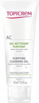 Очисний себорегулювальний гель для обличчя Topicrem AC Purifying Cleansing Gel 75 мл (3700281703276)