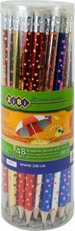 Набор графитовых карандашей ZiBi Stars HB с ластиком 48 шт (ZB.2310)