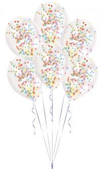 Латексные шарики Amscan прозрачные с конфетти 27.5 см 6 шт (9903277)