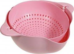 Двойной дуршлаг Supretto для мытья и просушивания фруктов Розовый (5754-0003)