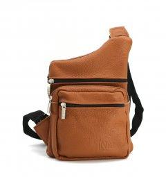 Стильная сумка - бананка, слинг унисекс нагрудная из натуральной кожи на молнии, рыжий 237