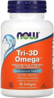 Рыбий жир + D3, Tri-3D Omega, Now Foods 90 желатиновых капсул (733739016867)