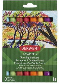 Набор цветных маркеров с двойным наконечником Derwent Academy Twin-Tip 8 штук (98208)