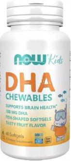 Жирные кислоты Now Foods Рыбий Жир для Детей, Kid's DHA, 100 мг, 60 гелевых капсул (733739016072)