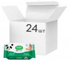 Упаковка влажных салфеток Снежная панда Алоэ для младенцев без запаха 24 пачки по 72 шт (4820183970404)