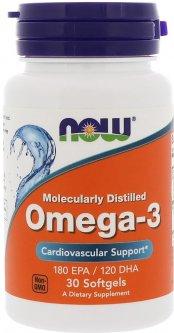 Жирные кислоты Now Foods Омега-3 1000 мг 30 желатиновых капсул (733739016492)