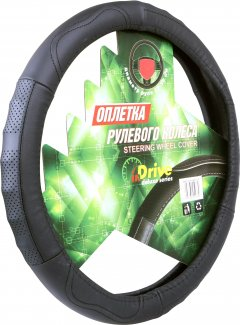 Чехол на руль InDrive кожаный M Черный (IDL-27600-M)