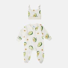 Человечек + шапочка Minikin Авокадо 2018403 56 см Молочный с зеленым (2020185001249)