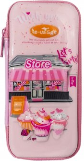 Пенал каркасный Le-WiSge 3D Магазин Розовый (Я45496_VR23125)