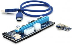 Райзер Voltronic PCI-EX, x1=>x16, 4-pin/6-pin/Sata, USB 3.0 AM-AM 0.6 м Красный (PCE164P-N04/ VER 008S)