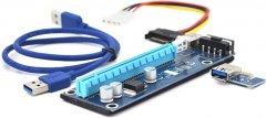 Райзер Voltronic PCI-EX, x1=>x16, 4-pin Molex, SATA=>4Pin, USB 3.0 AM-AM 0.6 м Синий (PCE164P-N03 VER 007)