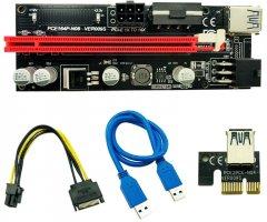 Райзер Voltronic PCI-EX, x1=>x16, 4-pin/6-pin, SATA=>6Pin, USB 3.0 AM-AM 0.6 м Черный (PCE164P-N08/ VER 009S)