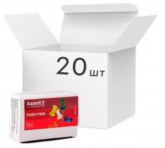 Набор кнопок-гвоздиков Axent 20 пачек по 30 шт Разноцветные (4203-A) (4250266252088)
