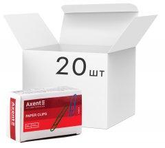 Набор скрепок закругленных Axent 28 мм 20 пачек по 100 шт Разноцветные (4106-А) (4250266251999)