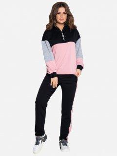 Спортивный костюм ISSA PLUS 10420 XL Черный с розовым (2000064259237)