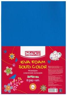 Набор фоамирана Maxi 2 мм 20 х 30 см Синего 5 шт (MX61619-02)